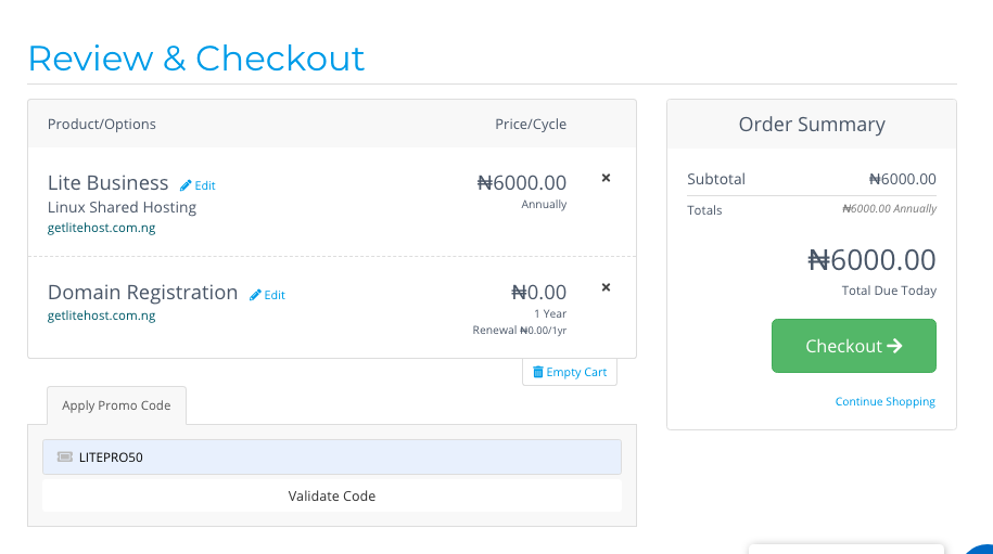 Checkout form where you can validate the promo code